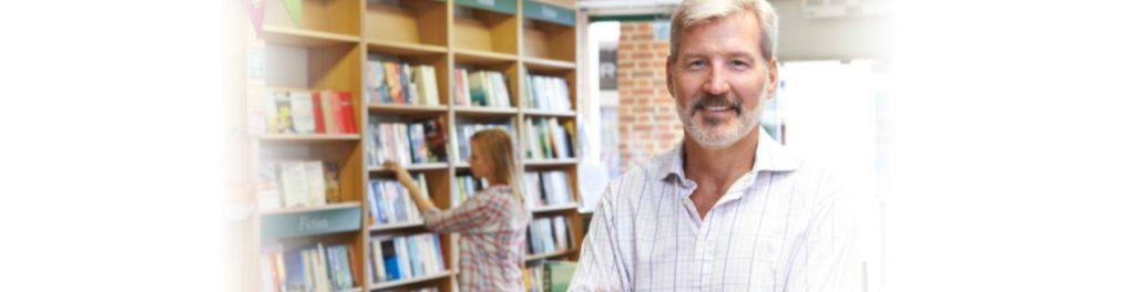 Smiling Bookstore owner